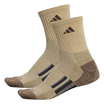 adidas Men's Cushioned X II Mid Crew Socks (2-Pair), Khaki - Chocolate Marl/Chocolate/Black/Onix, Large, (Shoe Size 6-12)