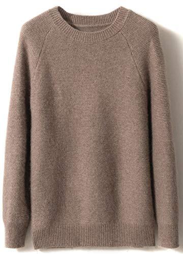 LinyXin Cashmere Damen Kaschmir Pullover Wolle Rundhals Langarm Freizeit Winter Warm Pulli Sweater (XL / 46-48, Kamel)