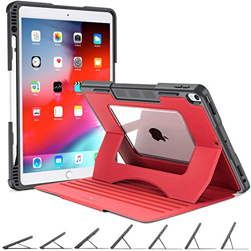case up ipad 3 protection cases OCYCLONE iPad Air 3rd Generation Case, iPad Pro 10.5 Case, 7 Viewing Angles Magnetic Stand + Pencil Holder + Auto Wake/Sleep + Clear Backplane Heavy Duty Rugged Protective iPad 10.5 Case, Red