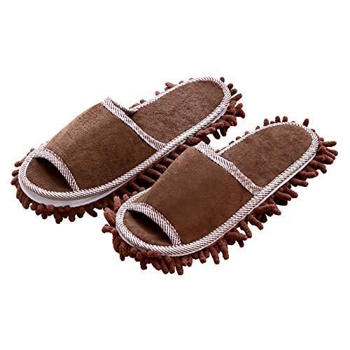 Limpieza de Zapatillas de Trapeador 2 pares de zapatillas de casa zapatillas chenilla zapatillas de piso perezoso casero barrido y trapeador limpieza zapatos de tela Zapatos de Fregona de Polvo de Mic