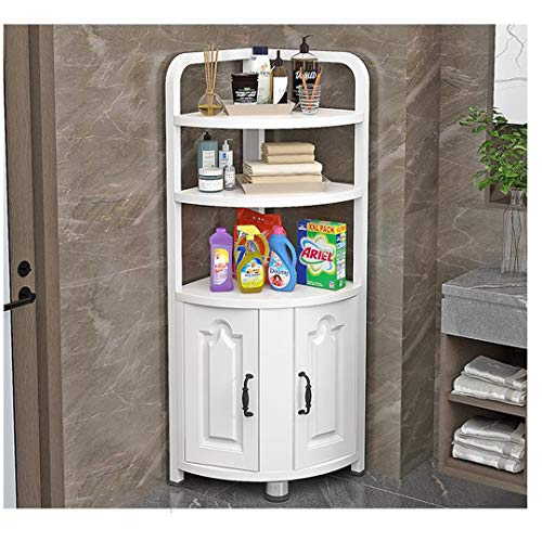 Étagère d'angle de salle de bain - Plusieurs couches - Pour le salon, la cuisine, la salle de bain - Blanc - 3-A