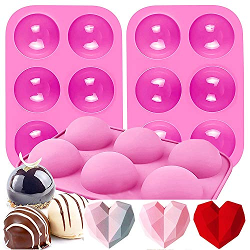 Hot Cocoa Bomb Mold,Chocolate Bomb Maker,Silicone Baking Molds for Making Dessert Candy Dome Mousse (3 PACKS pink)