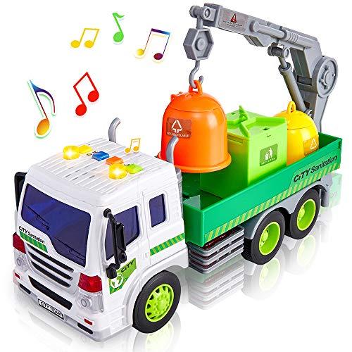 HERSITY Camión de Basura Coches de Friccion con Luces y Sonidos y Bote de Basura Vehiculos Juguete Regalo para Niño Niña