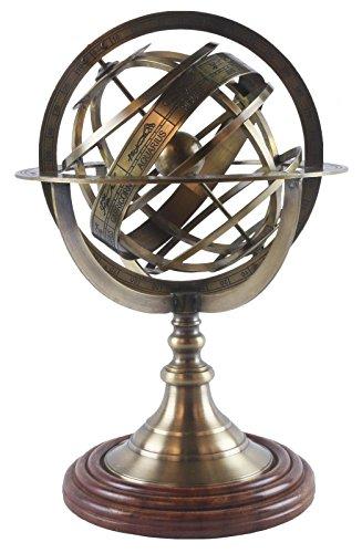 Midden-Engeland Armillary Globe Dia:19cm Messing Nautical Sphere H:28cm Aarde Zodiac Horoscoop Constellaties