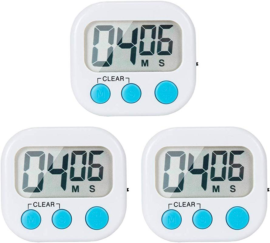 3 Pack Small Digital Kitchen Timer Magnetic Back And ON OFF Switch Minute Second Count Up Countdown