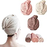 MBMB 3 turbantes de pelo de microfibra súper absorbentes, toalla con diseño de botón para secar el cabello rápidamente seco sombrero de pelo toalla envolturas para mujeres turbantes sombreros de baño