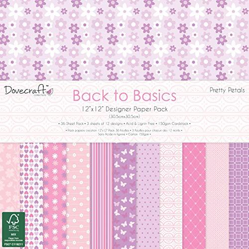 Dovecraft Back to Basics Pretty Petals FSC x 30,5cm confezione di carta, multicolore, 1, taglia unica
