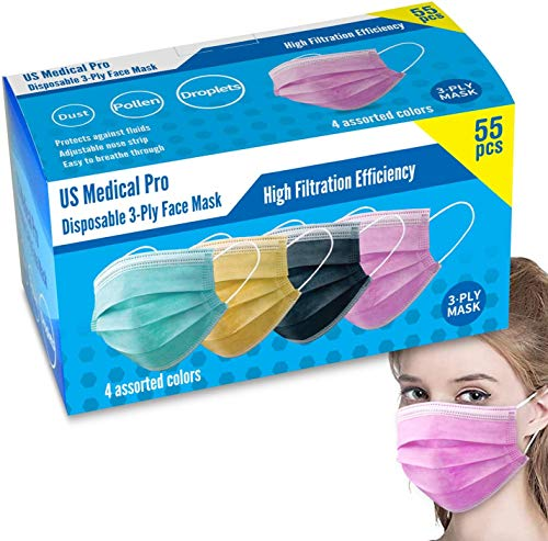 US Med Pro (55 PACK) Protective Masks Dustproof Cover, Disposable 50 PCS Filter +5 Free 3-ply Protection Masks (Color)