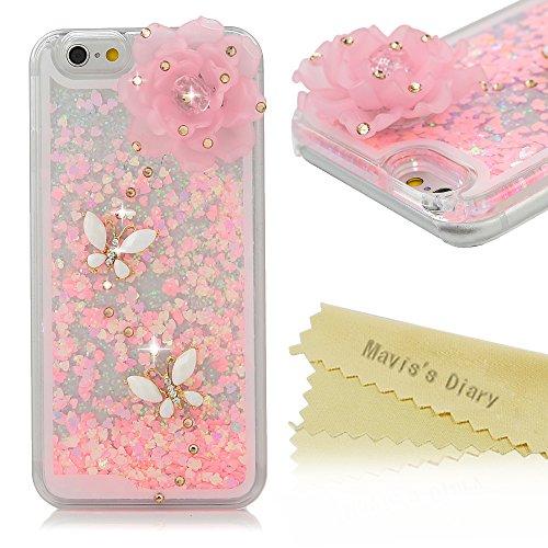 Samsung Galaxy S4/S5/S6/S6 edge/4 note, iPhone 5/6/6/Plus 6S/6S caso Mavis diario más 3D fluyentes líquido poco spooff purpurina rosa corazones carcasa transparente caso autoplex, Transparente/rosa, iPhone 6/iPhone 6S