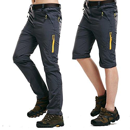 Rmine Trekkinghose Zip Off Atmungsaktiv Wanderhose Outdoor Hose Entfernbar Schnell Trockend (Mit Gürtel) (Grau, L)