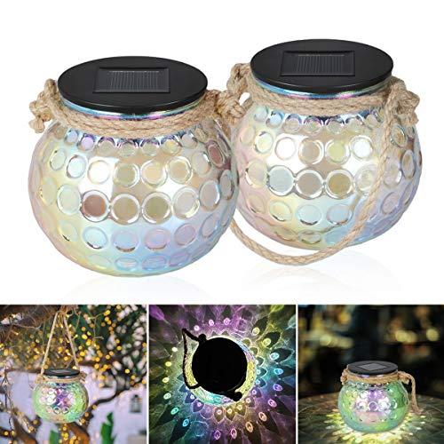 Solarleuchte Glas - 2 Stück Solar Laterne Glas, IP65 Wasserdichte Hängeleuchte, Solar Einmachglas Deko Aussen Solarleuchten für Weihnachten, Balkon Deko, Deko Garten