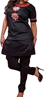 African Women Clothing Traditional Embroidery Pattern Shirt and Pants Suit Short Sleeves