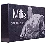 Black Granite Memorial Headstone for Lost Loved Ones, Dogs, Cats, and Family Pets. ' Great for Your Garden, Tree Dedication, or in a Cemetery. Includes your personal photo and text. (10 x 6 x 2')