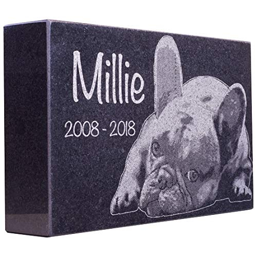 """Black Granite Memorial Headstone for Lost Loved Ones, Dogs, Cats, and Family Pets. """" Great for Your Garden, Tree Dedication, or in a Cemetery. Includes your personal photo and text. (14 x 9 x 2"""")"""