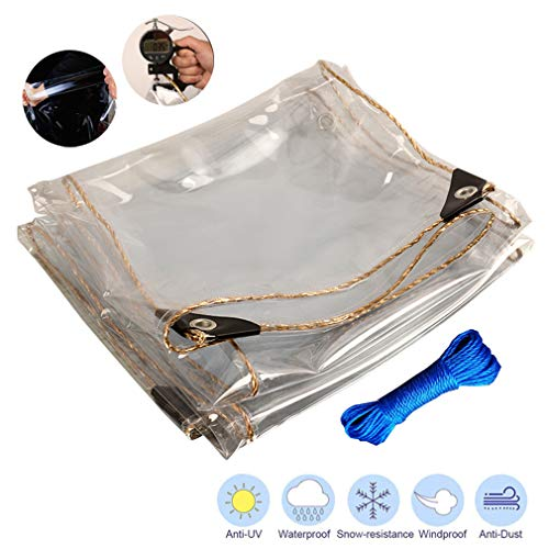 Waterproof Clear Tarpaulin with Grommets,0.35mm Thick PVC Cover Tent Shelter Camping Tarpaulin,Heavy Duty Multi Purpose Waterproof Tarp Cover Reinforced Rip-Stop (3x5m/9.8x16.4ft)
