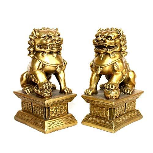 LINGS EIN Paar Pekinger Löwenpaare Fu FOO Dogs Statuen, Resin Guardian, chinesisches Feng Shui-Dekor, für Haus und Büro, Wohlstand und viel Glück anziehen, fünf Farben,Gold (Gold)