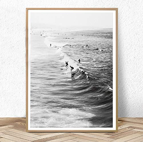 meilishop Surf Poster California Wall Art Blanco Y Negro Ocean Print Beach Modern Canvas Painting Surf Costera Decoración para Sala De Estar A237 (50X70Cm) Sin Marco