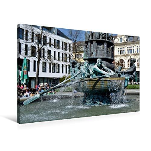 Calvendo Premium Textil-Leinwand 90 cm x 60 cm quer, Koblenz | Wandbild, Bild auf Keilrahmen, Fertigbild auf echter Leinwand, Leinwanddruck: Der Brunnen auf erzählt die Stadt-Geschichte Orte Orte