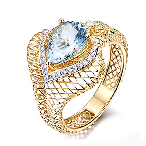 Dreamdge Wedding Ring for Women 18K Gold Snake Ring, Pear Blue Sapphire Ring 1.46ct Size Q½