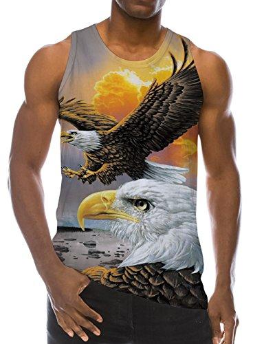 Loveternal Herren 3D Gedruckt Tank Top Casual Sommer Ärmelloses T-stücke Weste Wings Eagle T-Shirt L