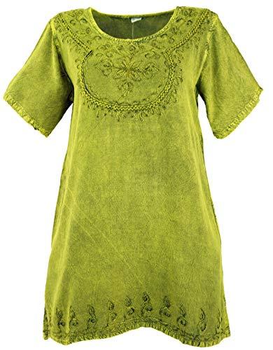 GURU SHOP Besticktes Indisches Hippie Top, chic Bluse, Damen, Lemon, Synthetisch, Size:40, Blusen & Tunikas Alternative Bekleidung
