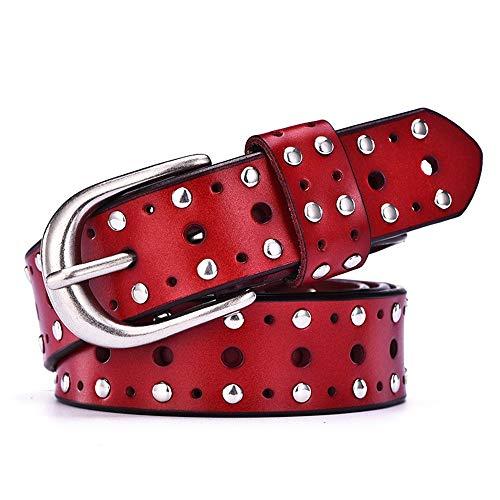 Schlichter und eleganter Schmuck Damen Leder Rindsledergürtel Punk Nietgürtel rot 100cm