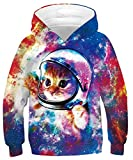 Goodstoworld Katze 3D Kapuzenpullis Druck Hoodies Unisex Funny Kapuzenpullover Jungen Mädchen Kapuze Pullis Langarm Sweatshirt mit Taschen 12-13 Jahre
