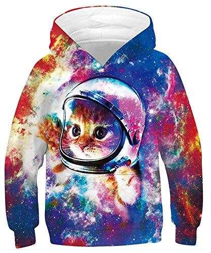 Goodstoworld Hoodie Kinder 3D Astronaut Cat Druck Jungen Mädchen Kapuzenpullover Coole Pulli Lange ärmel Komisch Sweatshirt Lustige Pullover 9-11 Jahre