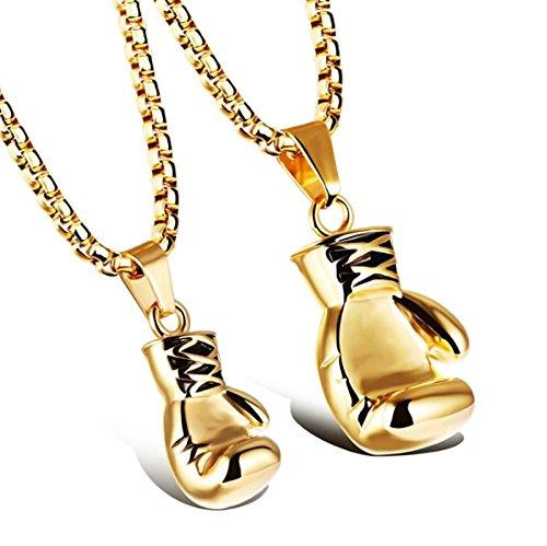 Aooaz Schmuck Unisex Halskette Kette Edelstahl Faust Boxhandschuhe Anhänger-Halsketten Gold