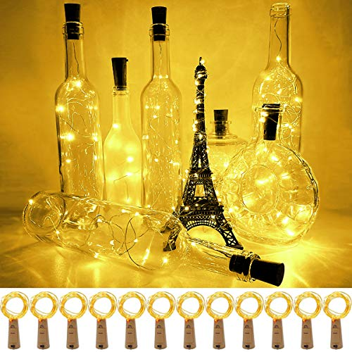 12 Pack Wine Bottle Lights with Cork 3.3ft Silver Wire Led Cork Lights Waterproof Battery Operated Fairy Mini String Light for DIY Wedding Christmas Holiday Home Party Decoration Present Gift Yellow