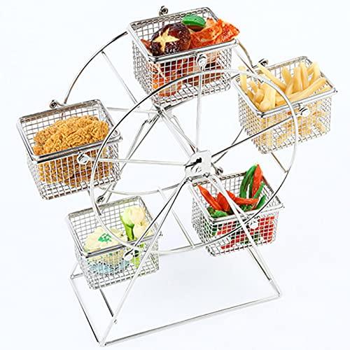 Estante de comida para ruedas de ferris, estante de alimentos de acero inoxidable, creativo para aperitivos, papas fritas, vajilla para fiestas, decoración de bodas