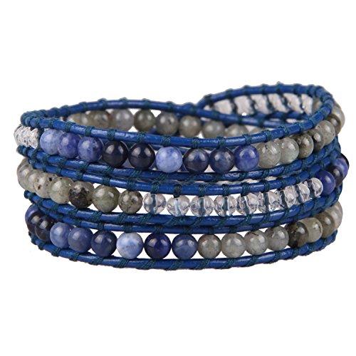 KELITCH Blau Leder 3 Wicklen Armband Synthetisch Labradorite Achat Perlen Neu Armreifen (Blau)
