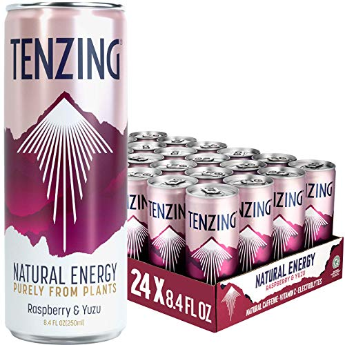 TENZING Natural Energy Drink, Plant Based & Low Calorie, With Natural Caffeine, Vitamin C & Electrolytes, Raspberry &Yuzu, 8.4 Fl Oz (Pack of 24)