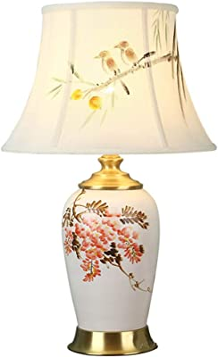 Lámparas de mesa Lámpara de escritorio de cerámica de cobre ...