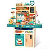 CUTE STONE 93PCS Kids Kitchen Playset,Play Kitchen Toy with Realistic Lights & Sounds,Pretend...
