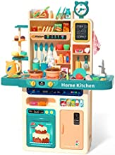 CUTE STONE 93PCS Kids Kitchen Playset,Play Kitchen Toy with Realistic Lights & Sounds,Pretend Steam,Play Sink & Oven,Color Changing Play Food,Menu Board & Other Kitchen Accessories Set for Toddlers