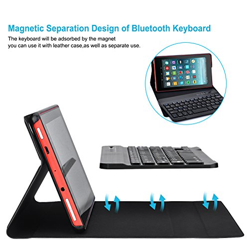 AGPTEK Keyboard Case for All-New Amazon Fire HD 8 (Only 7th and 8th Gen, 2017 and 2018 Releases, Not Compatible with 10th Generation, 2020 Release), with Detachable Wireless Bluetooth Keyboard, Black