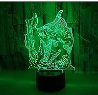 魚3D Ledナイトライトフィッシングリモートタッチスイッチ素敵な7色の変更3D Ledランプクリスマスギフト用ベビールームライト
