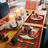Juego de 6 Navidad Manteles Individuales, de Algodón y Arpillera, 42 x 32 cm, Repelen la Suciedad y Lavables, Resistente al calor Manteles Individuales, para cena de Navidad Decoración (E)