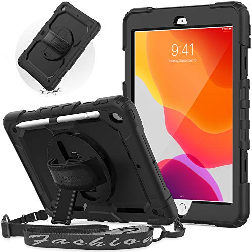 SEYMAC iPad 10.2 Case, iPad 8th/ 7th Generation Case 2020/2019 Released, Heavy Duty Shockproof iPad Case with Adjustable Shoulder Strap/Hand Strap/Kickstand/Screen Protector for iPad 10.2 Inch,(Black)