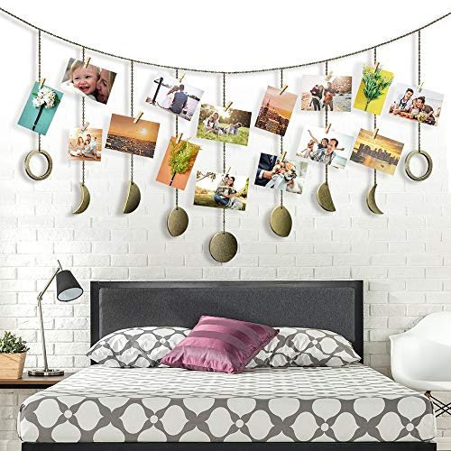 Photo Clips Moon Phase Garland Chains Wall decoration, Photo Display with 20 Wood Clips for Bedroom Birthday Party Decoration, Bronze