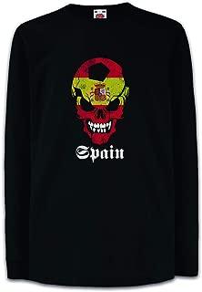 Urban Backwoods Black Classic Spain Football Soccer Skull Flag Camisetas de Manga Larga T-Shirt para Niños Niñas