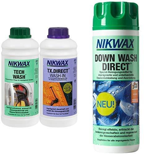 Nikwax Tech Wash Waschmittel + TX Direct Imprägnierung,  2x1 Liter, für Funktionsbekleidung & Nikwax Down Waschmittel, für Daunen, 300 ml