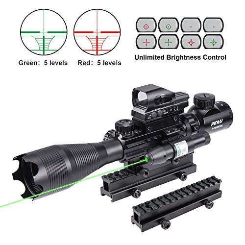 Pinty Rifle Scope 4-16X50 Illuminated Optics Sight Green...
