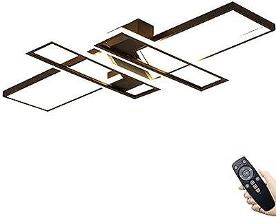 Plafonnier LED Moderne Rectangle à Intensité Variable Avec Télécommande Moderne Weiss Chambre Salon Plafonnier Blanc Ellipse Plafon Light Cuisine Salle Manger Bureau Escalier Lustre (Black,L90CM/94W)