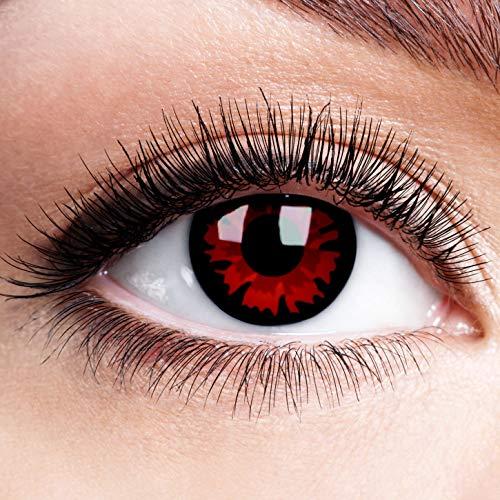 Farbige Kontaktlinsen mit Stärke Volturi Rot Schwarz Rand Motiv Linsen Halloween Karneval Fasching Cosplay Schwarze Augen Vampir Black Red Devil Zombie - 2 dpt