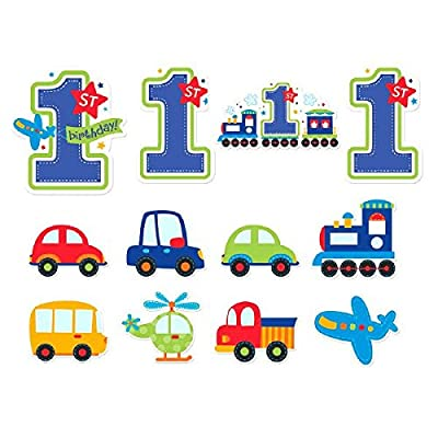 "All Aboard Boy 1st Birthday Value Decoration Pack Cutouts, Large, 12 Pieces, Made from Paper, Blue & Green, 7"", 9"", 11"" by Amscan by Amscan"