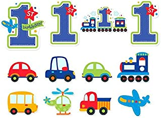All Aboard Boy 1st Birthday Value Decoration Pack Cutouts, Large, 12 Pieces, Made from Paper, Blue & Green, 7