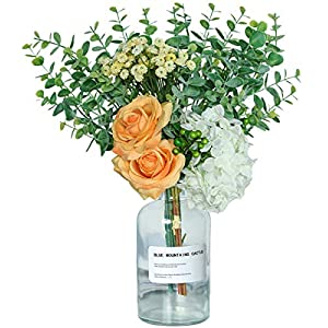 Nubry Artificial Flowers with Vase Fake Silk Rose Eucalyptus Leaves Babies Breath Arrangements in Glass Vase Ins Style Faux Desk Flowers for Office Home Party Decor