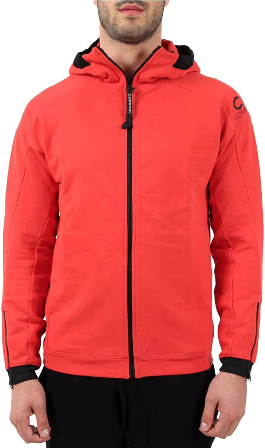 C.P. Company Red Diagonal Fleece Goggle Zip Hoodie men Mod. 006A
